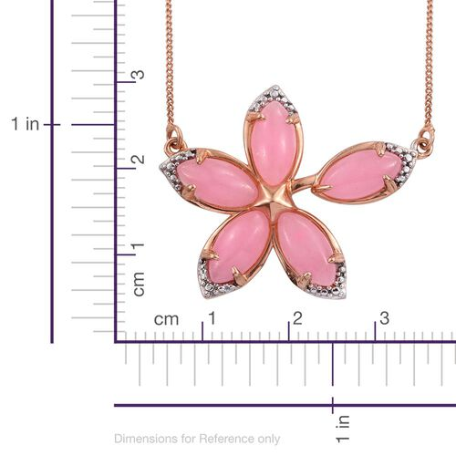 Pink Jade (Mrq) Floral Necklace (Size 18) in 14K Gold Overlay Sterling Silver 6.750 Ct.
