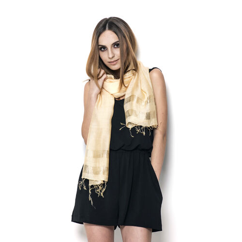 30% Silk and 70% Viscose Beige Colour Shawl (Size 175x65 Cm)