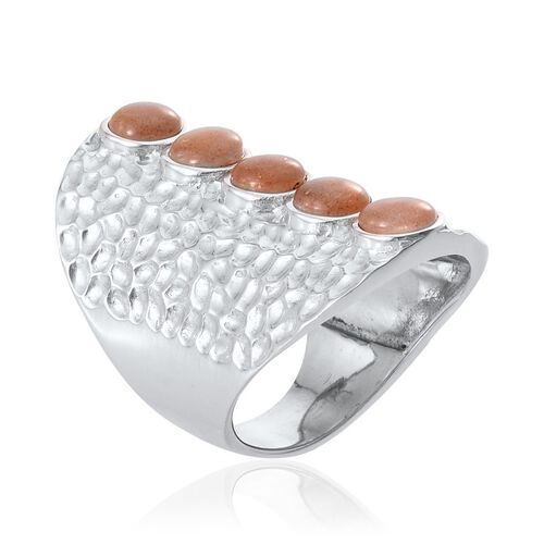 Morogoro Peach Sunstone (Rnd) 5 Stone Ring in Platinum Overlay Sterling Silver 4.250 Ct.