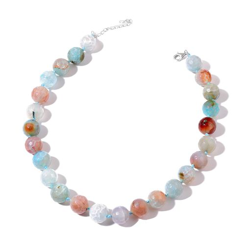 Multi Agate Enhanced Necklace (Size 18) in Rhodium Plated Sterling Silver 650.000 Ct.