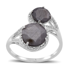 Natural Silver Sapphire (Rnd 3.25 Ct), White Topaz Ring in Rhodium Plated Sterling Silver 4.280 Ct.