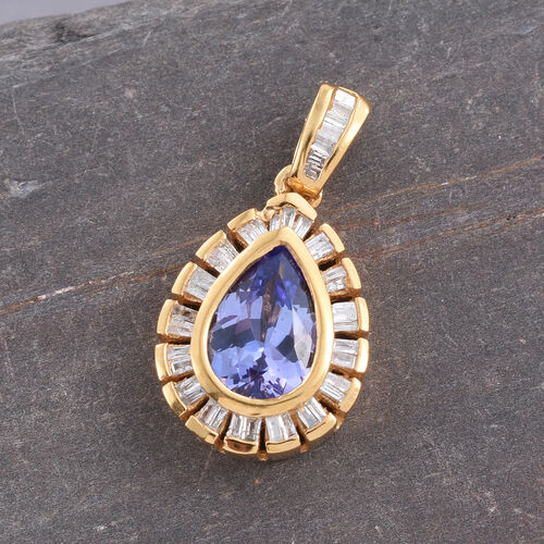 Tanzanite (Pear 1.30 Ct), Diamond Pendant in 14K Gold Overlay Sterling Silver 1.500 Ct.