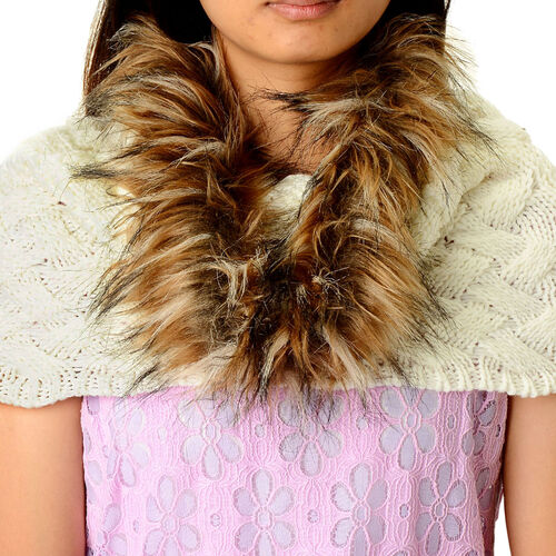 White Colour Neck Scarf with Fur Collar (Free Size)