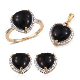 Black Onyx (Hrt) Solitaire Ring, Pendant and Stud Earrings (with Push Back) in 14K Gold Overlay Sterling Silver 11.000 Ct.