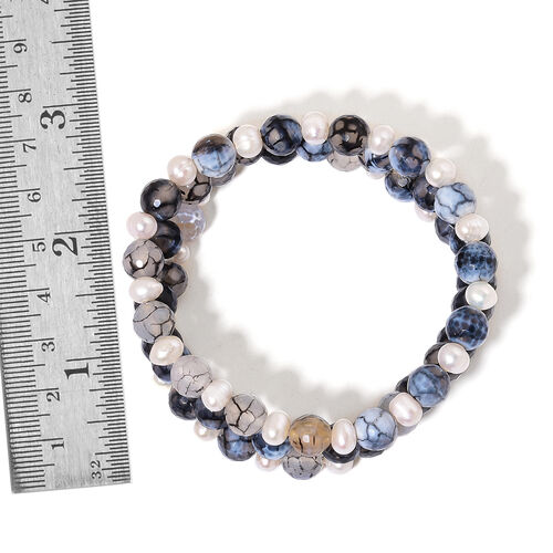 Multi Colour Agate and Fresh Water White Pearl Stretchable Bracelet (Size 7.5) 185.500 Ct.