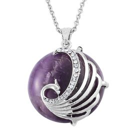Close Out Deall -Amethyst, White Austrian Crystal Phoenix Pendant With Chain (Size 28) in Silver Tone