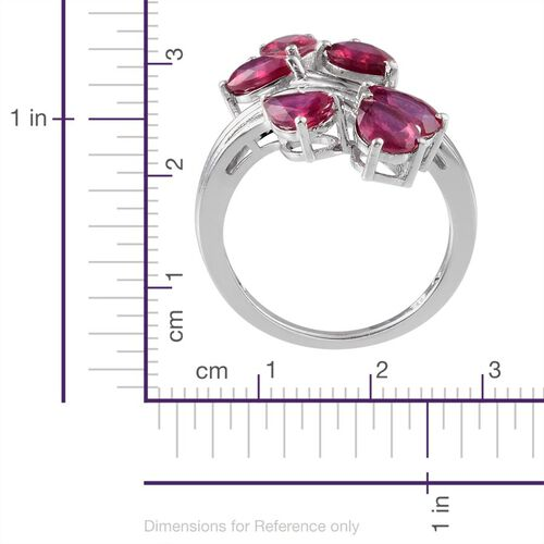 African Ruby (Pear) Crossover Ring in Platinum Overlay Sterling Silver 4.500 Ct.