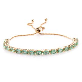 9K Yellow Gold 3.75 Carat Boyaca Colombian Emerald Adjustable Bracelet (Size 6.5 to 9.5)