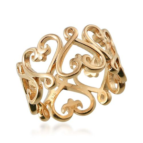14K Gold Overlay Sterling Silver Hearts Band Ring, Silver wt 4.94 Gms.
