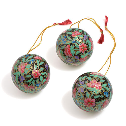Christmas Decorations - Set of 3 - Green and Multi Colour Wall Hanging Christmas Balls