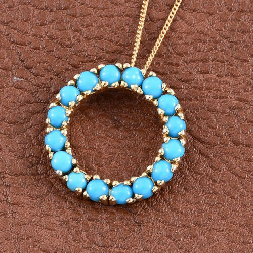 Arizona Sleeping Beauty Turquoise (Rnd) Circle Pendant with Chain in 14K Gold Overlay Sterling Silver 2.000 Ct.