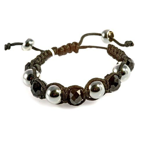Shamballa Friendship Hematite and Silvertone Bead Bracelet (Adjustable)
