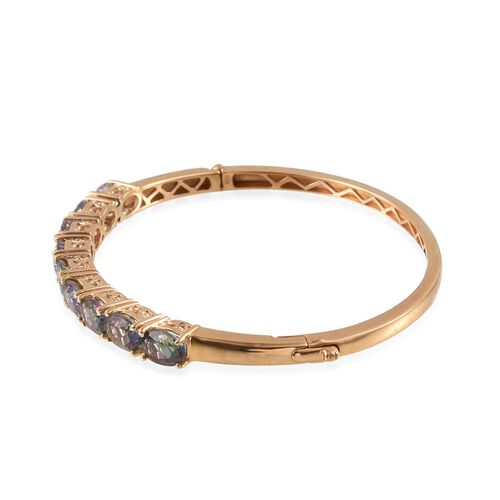 Northern Lights Mystic Topaz (Ovl) Bangle (Size 7.5) in 14K Gold Overlay Sterling Silver 11.250 Ct.