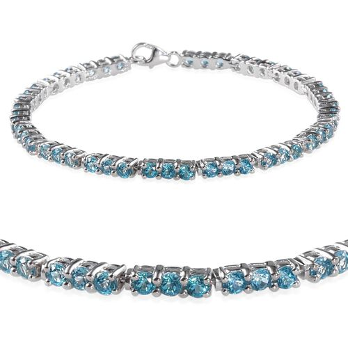 Signity Pariaba Topaz (Rnd) Bracelet in Platinum Overlay Sterling Silver (Size 7) 7.000 Ct.