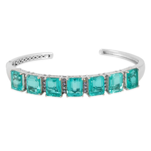 Paraiba Triplet Quartz (26.75 Ct),Tanzanite Platinum Overlay Sterling Silver Bangle (Size 7.5)  27.750  Ct.