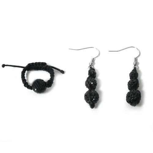 Black Austrian Crystal Ring (Adjustable) and Earrings With Stainless Steel Hook