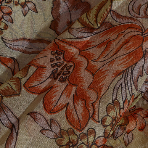 100% Mulberry Silk Jacobean Floral Printed Red, Brown and Multi Colour Stole (Size 180x50 Cm)