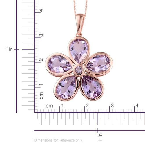 Rose De France Amethyst (Pear) 5 Stone Floral Pendant With Chain in Rose Gold Overlay Sterling Silver 7.750 Ct.