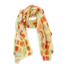 100% Mulberry Silk Orange and Multi Colour Abstract Pattern Yellow Colour Scarf (Size 180x100 Cm)