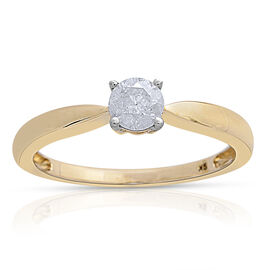 9K Yellow Gold 0.50 Carat Diamond Solitaire Ring