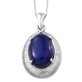 Lapis Lazuli (Ovl) Pendant With Chain in Platinum Overlay Sterling Silver 14.000 Ct.