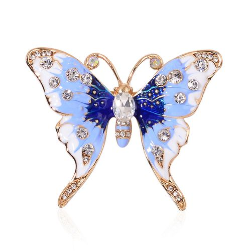 Designer Inspired-White Austrian Crystal, Blue and White Colour Enameled Butterfly Brooch in Yellow Gold Tone