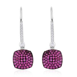 ELANZA AAA Simulated Rubelite (Rnd), Simulated White Diamond Hook Earrings in Rhodium Plated Sterling Silver