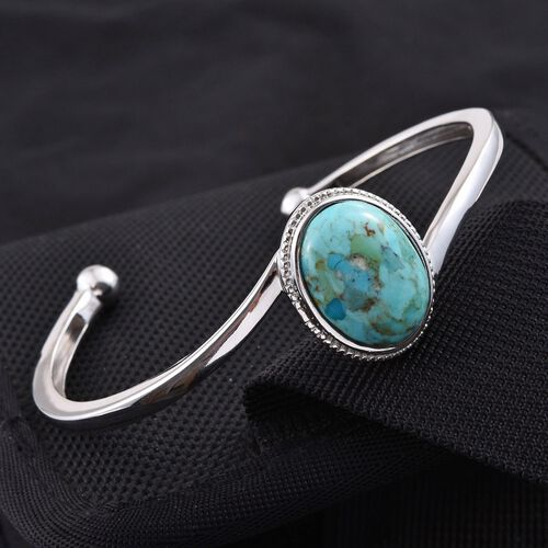 Arizona Matrix Turquoise (Ovl) Cuff Bangle (Size 7.5) in Platinum Overlay Sterling Silver 11.250 Ct.