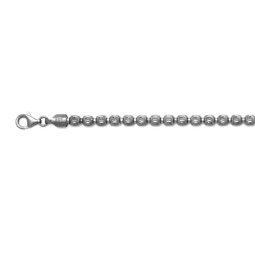 Vicenza Collection Rhodium Plated Sterling Silver Barrel Moon Necklace (Size 30), Silver wt 36.62 Gms.