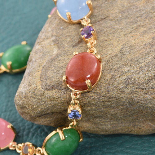 Pink, Blue, Red, Green Jade (Ovl) and Multi Gem Stone Bracelet (Size 7.5) in 14K Gold Overlay Sterling Silver 36.000 Ct.