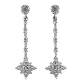 Diamond (Rnd) Floral Dangling Earrings (with Push Back) in Platinum Overlay Sterling Silver 0.500 Ct.
