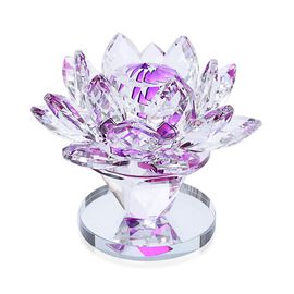 Home Decor - Purple and White Austrian Crystal Lotus Flower on a Stand
