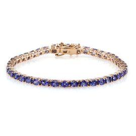 9K Yellow Gold 10 Carat AAA Ceylon Blue Sapphire Oval Tennis Bracelet - Size 7.