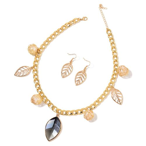 Simulated Grey Moonstone and Simulated White Pearl Leaves Necklace (Size 20 with 2 inch Extender) and Hook Earrings in Yellow Gold Tone