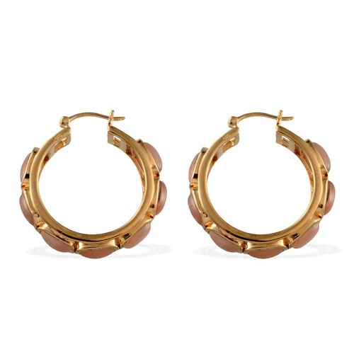 Mitiyagoda Peach Moonstone (Cush) Hoop Earrings in 14K Gold Overlay Sterling Silver 24.500 Ct.