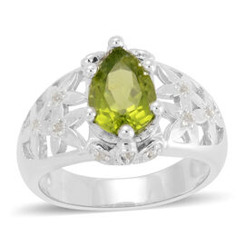 Hebei Peridot (Pear 1.50 Ct), White Topaz Ring in Rhodium Plated Sterling Silver 2.050 Ct.