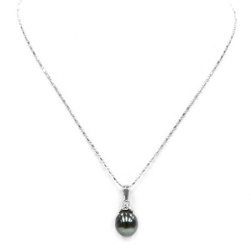 Tahitian Pearl Sterling Silver Pendant With Chain 7.000 Ct.