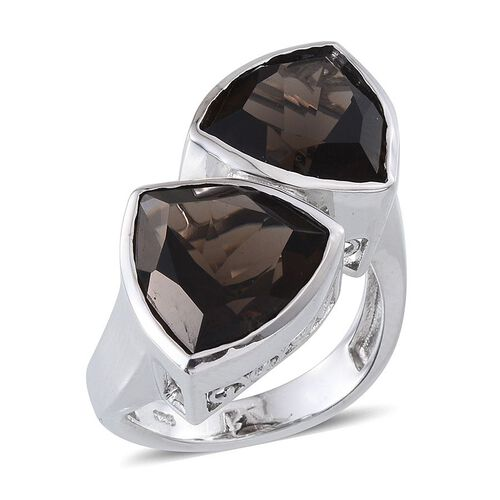 Brazilian Smoky Quartz (Trl) Ring in Platinum Overlay Sterling Silver 10.000 Ct.