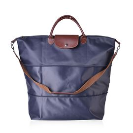 Designer Inspired- Navy Colour Foldable Travel Bag with Shoulder Strap (Size 58x52x42x21 Cm)