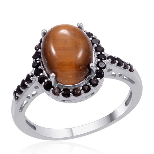 Designer Collection Tigers Eye (Ovl 5.75 Ct), Brazilian Smoky Quartz Ring in Platinum Overlay Sterling Silver 6.800 Ct.