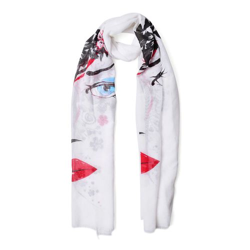 Artistic Floral and Female Face Pattern White Colour Scarf (Size 180x70 Cm)