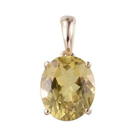 9K Y Gold Natural Madagascar Yellow Apatite (Ovl) Solitaire Pendant 4.750 Ct.