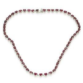 AAA African Ruby (Ovl) Necklace in Rhodium Plated Sterling Silver (Size 20) 47.000 Ct.