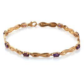 Amethyst (Ovl) Bracelet (Size 7.5) in 14K Gold Overlay Sterling Silver 2.000 Ct.