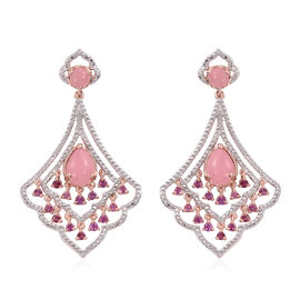 Pink Jade (Pear), Rhodolite Garnet Earrings (with Push Back) in Rose Gold Overlay Sterling Silver 7.500 Ct.