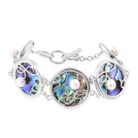Limited Edition - Abalone Shell and Genuine Fresh Water White Pearl Bracelet (Size 8) with Toggle Lock in Silver Tone