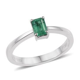 RHAPSODY 950 Platinum Boyaca Colombian Emerald (Oct) Solitaire Ring 0.500 Ct.