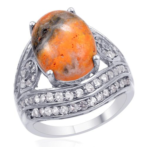 Designer Collection Bumble Bee Jasper (Ovl 8.25 Ct), White Topaz Ring in Platinum Overlay Sterling Silver 9.952 Ct.