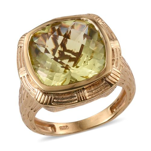 Checkerboard Cut Natural Ouro Verde Quartz (Cush) Ring in 14K Gold Overlay Sterling Silver 9.750 Ct.