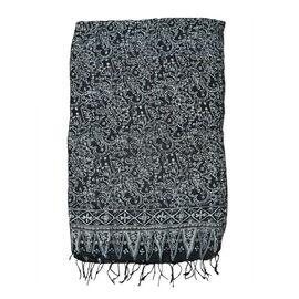 Floral Pattern Black and Grey Colour Original Silk Scarf (Size 150x45 Cm)